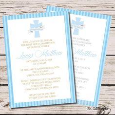 Communion Invitation Boy, PRINTABLE Boy First Communion Invitations, First Holy Communion Invitation Party Invitation Blue Communion Invite
