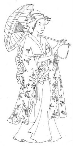 Japanese woman with parasol & kimono