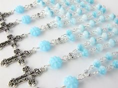 Baptism Favors Set of 10  Light Blue Mini Rosary  by AngelRosaries