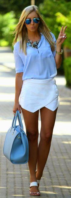 Street Styles | Spring Fashion | Light Blue Collared Button Up, White Wrap Skirt, Light Blue Handbag, White Sandals, & Statement Necklace