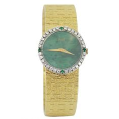 27b1dadf5961 Piaget Lady s Yellow Gold Jade Dial and Diamond and Emerald Bezel Bracelet  Watch