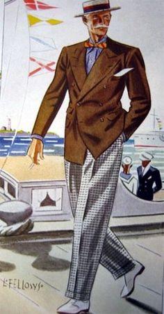 Apparel Arts illustration by Laurence Fellows Mode Masculine Vintage, Vintage Gentleman, Vintage Mode, Gentleman Style, 1940s Mens Fashion, Mens Fashion Suits, Mens Suits, Vintage Fashion, Men's Fashion