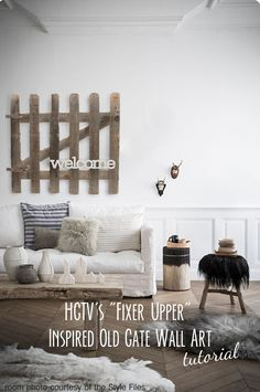"Simple DIY project inspired by HGTV's show ""Fixer Upper"". How to take an old wooden gate and ""welcome"" it to it's second lease on life as a one of a kind piece of art that makes a friendly statement. Only 5 simple steps that can be done in less than an hour! Who doesn't want to add ""Fixer Upper"" charm to their home for less than $10?! #mimiberrycreations #HGTV #FixerUpper #easyDIY"