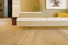 Oak floors from Oggie Wide Plank Flooring, Wood Species, Solid Oak, This Is Us, New Homes, Indoor, It Is Finished, Couch, Rustic
