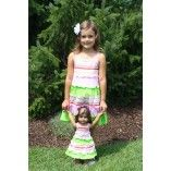Pink and Green Striped Tiered Sundress For Girl and American Girl or Bitty Baby Doll $36 on weeline.com