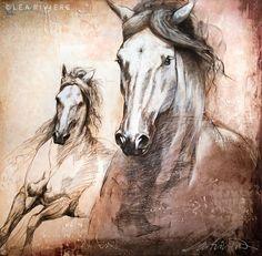 toile de Léa Rivière - Léa Rivière's painting  .©Léa Rivière toute reproduction en partie ou en totalité interdite/ art/ horse/ chevaux/ painting/