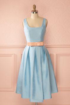 Élissa - Baby blue midi dress with a peach belt