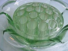 depression glass flower frog, one can never have enough flower frogs.