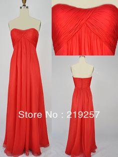 Free Shipping R007 Long Chiffon Soft Sweetheart Strapless Bridesmaid Dress Red on AliExpress.com. $92.99