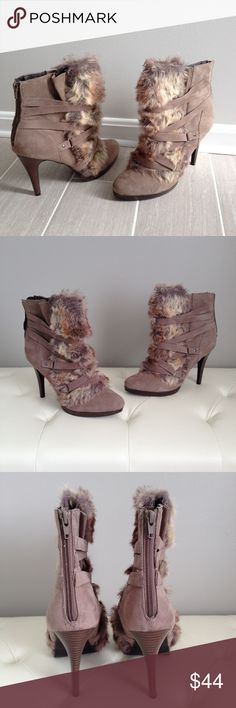 Elle Zoe Taupe Ankle Boots Faux fur trim.  Worn once or twice.  Upper is in perfect, like new condition & soles show very minimal wear.  These truly resemble new! Elle Shoes Ankle Boots & Booties