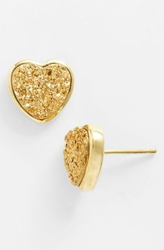 Drusy Heart Stud Earrings.