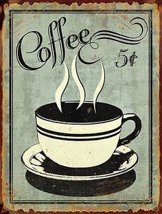 Barnyard Designs 5 Cent Coffee Retro Vintage Tin Bar Sign Country Home Decor 10 x 13 -- See this great product. (This is an affiliate link and I receive a commission for the sales) Coffee Cafe, Coffee Drinks, Coffee Shop, Coffee Iv, Coffee Jelly, Decaf Coffee, Café Vintage, Vintage Coffee, Framed Art Prints