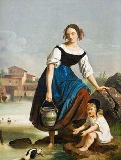 Antonín Mánes - Žena s dítětem u vody Czech Republic, Painting, Art, Style, Fashion, Craft Art, Swag, Moda, Stylus
