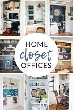 Closet Offices - Inspiration and Organization for Small Spaces. Check out these 8 small space solutions for home offices or craft rooms Home Office Closet, Home Office Organization, Organizing Your Home, Organization Ideas, Small Space Solutions, Dollar Store Crafts, Create Space, Craft Rooms, Craft Storage