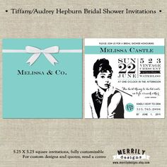 Tiffany Inspired Audrey Hepburn Bridal Shower Invitations by Merrily Designs on Etsy #merrilydesigns