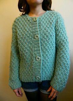 Retro chunky knit cardigan