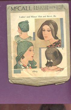Vintage McCall's UNCUT 1930s Sewing Pattern # 1819 LADIES MISSES HAT