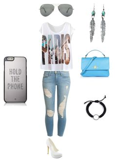 """""""Blue and White No.1"""" by suvalic-haris ❤ liked on Polyvore featuring mode, Frame Denim, Michael Antonio, Kate Spade, Vivienne Westwood, Ray-Ban en blueandwhite"""