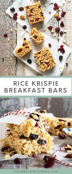 These Rice Krispie breakfast bars are light sweet and a little crunchy. They're perfect for hitting the spot for starting the day on the run or as a mid-morning snack! You'll love them because they're easy no-bake and delicious! Rice Krispie Bars, Rice Krispie Treats, Rice Krispies, Tray Bake Recipes, No Bake Desserts, Bar Recipes, Dessert Recipes, Breakfast Tray, Breakfast Recipes