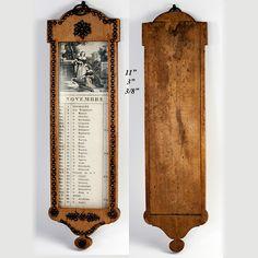 Античная эпоха наполеоновских Настенный календарь, стали вырезать на Пике лимоном от антиквариата, редко-сокровище на Руби-Лейн
