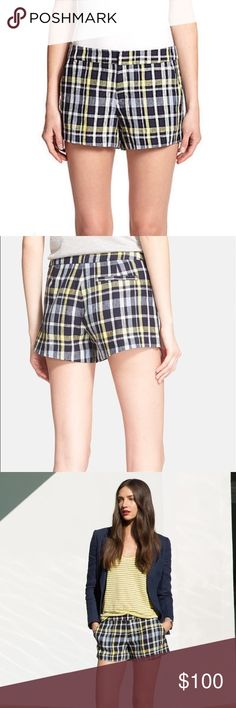 """Joie Plaid Linen Shorts Details & Care: Show a little leg with perfectly tailored shorts cut from preppy plaid for a look that's as polished as it is playful. * 3"""" inseam; 26"""" leg opening; 10"""" front rise; 15"""" back rise (size 8). * Zip fly with hook-and-eye closure. * Front slant pockets; back slip pocket. * 100% linen. * Dry clean. * By Joie; imported. * Individualist.  NWOT Size 6. Reasonable offers accepted Joie Shorts"""