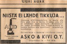 Niistä ei lähde tikkuja -  Askon vanha lehtimainos vuodelta 1932