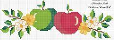 ENCANTOS EM PONTO CRUZ: Maçã Cross Stitch Fruit, Cross Stitch Kitchen, Cross Stitch Borders, Cross Stitch Flowers, Cross Stitch Designs, Cross Stitching, Cross Stitch Embroidery, Cross Stitch Patterns, Easter Cross