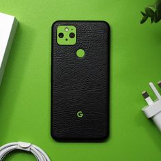 Google Pixel 5 - Black Leather and Textured Matt Green Skin Back Camera, Brushed Metal, Phone Stand, New Phones, Carbon Fiber, Black Leather, Google, Green, Phone Holder