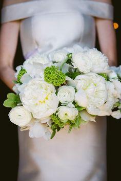 white peonies, green vibernum, white ranunculus and green hellebores bouquet. www.parsonageflowers.com