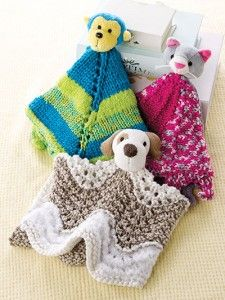 Knitting patterns for blanket buddies using Top This Yarn