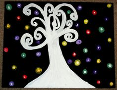 Glowing Bulbs Acrylic Painting 11x 14 by alesiawhite on Etsy, $15.00