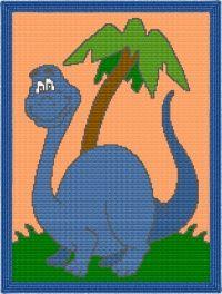 Baby Dinosaur Afghan Blanket Graph Crochet Pattern