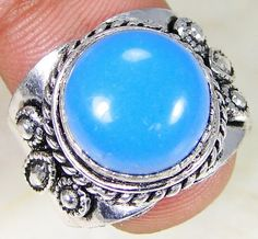 Blue Jade & 925 Silver Handmade Lovely Ring Size S & gift-box