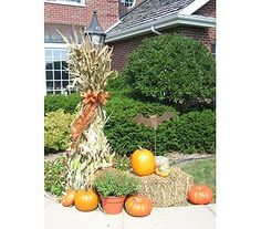 Fall Decorating with hay bales, pumpkins, mums, and corn stalks...House of Flowers Oshkosh, WI