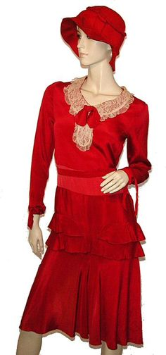 ~Red Silk 1920's dress and cloche, from the archives of Morning Glorious Vintage~