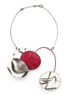 Red Rising 2012.  Necklace by Myung Urso.  Cotton, silk, Asian ink, thread, sterling silver, lacquer.