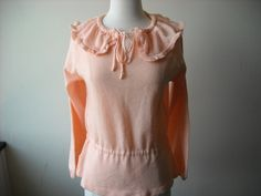 Vintage Peach Ruffle Sweater by Baxtervintage on Etsy, $30.00