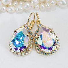 AB Bridal Teardrop Earrings Swarovski AB Crystal Pear Shape Chandalier Earrings Ab Drop Wedding Crystal Halo earrings Gold finish,AB,GE101