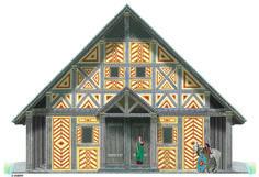 """Illustration : La Dame de Vix """" La campagne de fouilles de l'année 2013 s'est achevée par la découverte d'une nouvelle grande maison à abside (la n° 6) d'une longueur de 27 m. de long pour une largeur de 16 m. Ce bâtiment exceptionnel par ses dimensions se situe dans l'enclos qui jouxte celui du Palais de la Dame de Vix. """" et dont voici l'illustration - © K.B ROTHE.  Cliquez ici pour lire l'article : http://grand-cercle-celtique.com/2014/02/15/la-dame-de-vix"""