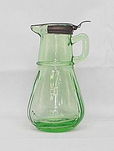 Green Hazel Atlas Depression Glass Syrup Pitcher