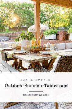 Outdoor Summer Tablescape + Patio Tour | Bless This Nest Outdoor Living Areas, Outdoor Rooms, Outdoor Furniture Sets, Outdoor Decor, Deck Design Plans, Farmhouse Front Porches, Cozy Backyard, Deck Decorating, Outdoor Entertaining