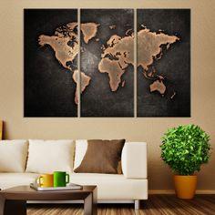 Large Wall Art Orange Modern World Map on Metalic Black Background Canvas Print - MyGreatCanvas.com |  Extra Large Wall Art - Wall Art Print - Large World Map Canvas Print Gallery