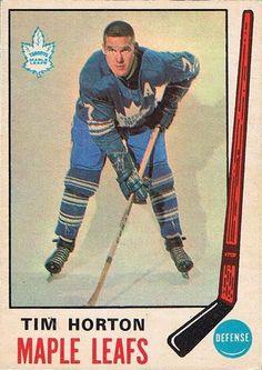 Tim Horton O-Pee-Chee 182 - his last hockey card with the Toronto Maple Leafs. Hockey Cards, Football Cards, Baseball Cards, Canada Hockey, Maple Leafs Hockey, Hockey Pictures, Tim Hortons, Sports Figures, Hockey Mom