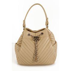 CHANEL Beige Deerskin Chevron CC Silver Chain Bucket Drawstring Shoulder Bag  16A Leather Handbags 8696fa1f0840f