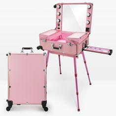 Professional Artist Studio Makeup Case Cosmetic Train Table w/4 Rolling Wheels & Lights & Mirror Makeup Portable Table Dresser
