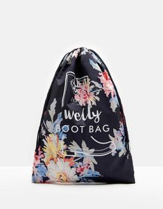 Joules UK PRINTED Womens Welly Bag Navy Whitstable Floral dad5a6e32734