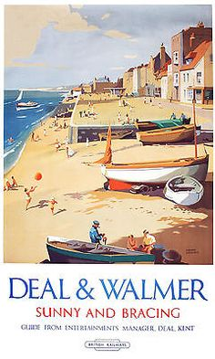 Deal & Walmer - Sunny and Bracing BR(S) - Vintage Travel Poster 1952 - Repro. Posters Uk, Train Posters, Railway Posters, Art Deco Posters, Beach Posters, British Travel, British Seaside, Beach Trip, Hawaii Beach