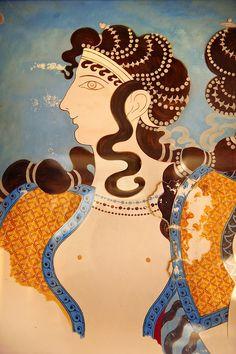 Arthur Evans reconstruction of Dancing girl fresco from the Queen's megaron at…