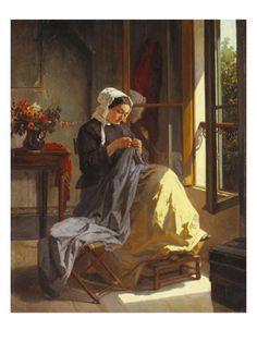 Jean-Baptiste Trayer, Woman Sewing by an Open Window
