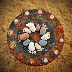 """The """"Stone Footprints"""" series of photographer Iain Blake, beautiful, simple and cute land art made ?with round pebbles found on the beach. A series of photogra"""